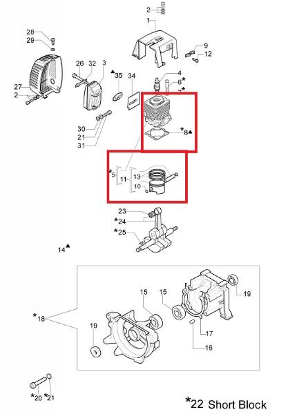 Kolben und Zylinder D.42