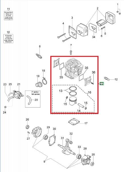 Kolben und Zylinder D.45